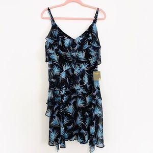 Palm Print Ruffled Sleeveless Chiffon Dress